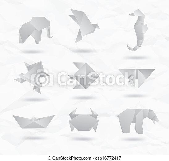 Set Of White Origami Animals