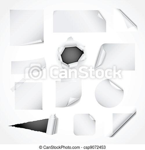 Set of white paper design elements - csp9072453