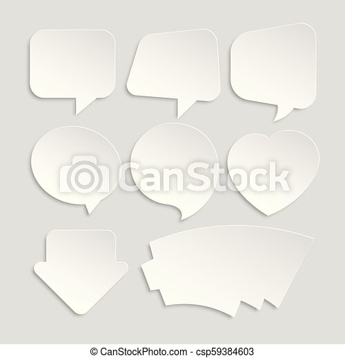 Set Of White Paper Stickers Of Different Shapes For Messages Or