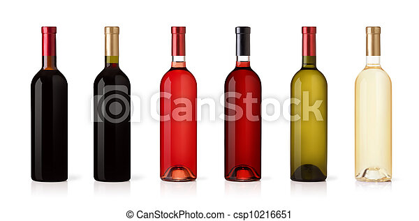 Set of white, rose, and red wine bottles. isolated on white background - csp10216651