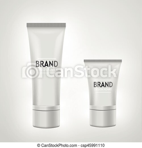 Set of white tube mock-up for cream, tooth paste, gel, toner. Cosmetic concept. - csp45991110