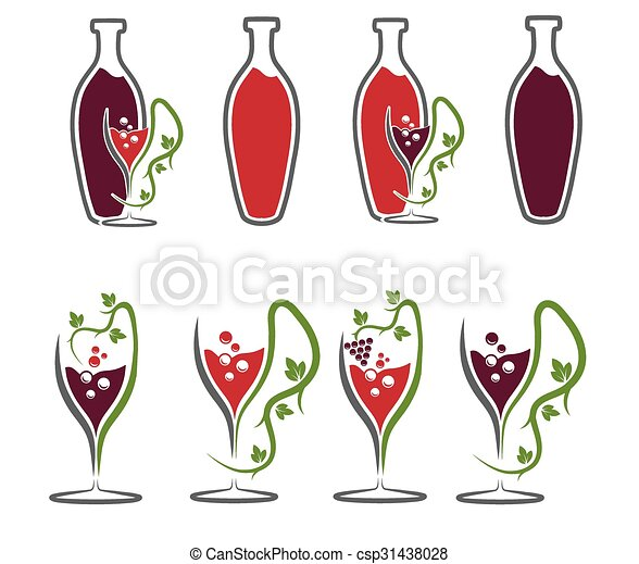 set of wine bottles and wineglasses - csp31438028