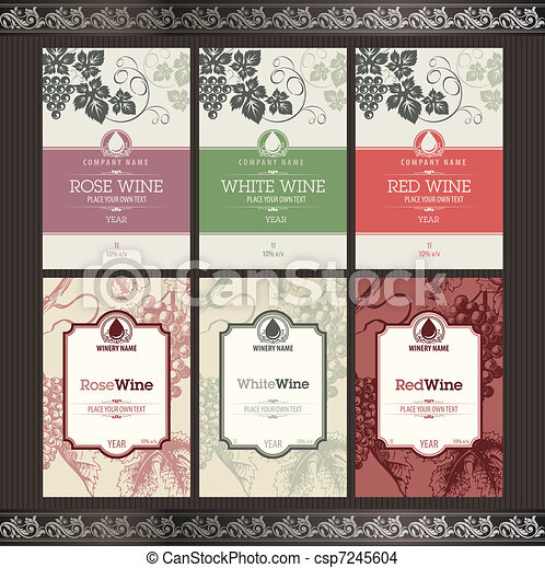 Set of wine labels . Set of wine label templates eps vector - Search ...