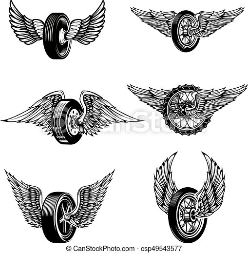 Set of winged car tires on white background. Design elements for - csp49543577