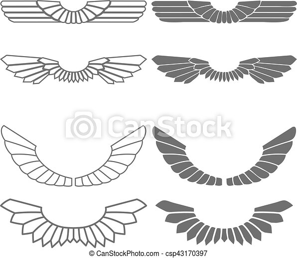 Set of wings isolated on white - csp43170397