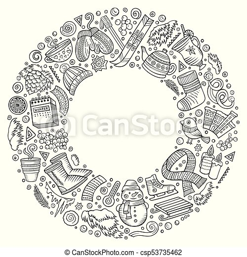 Set Of Winter Cartoon Doodle Objects Symbols And Items Line Art