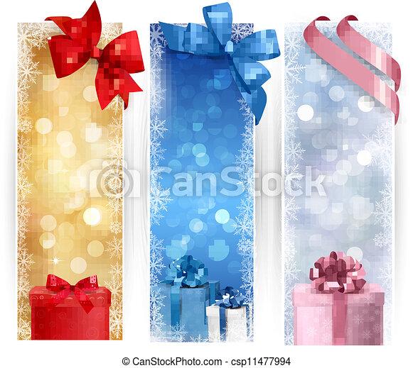 Set of winter christmas banners illustration - csp11477994