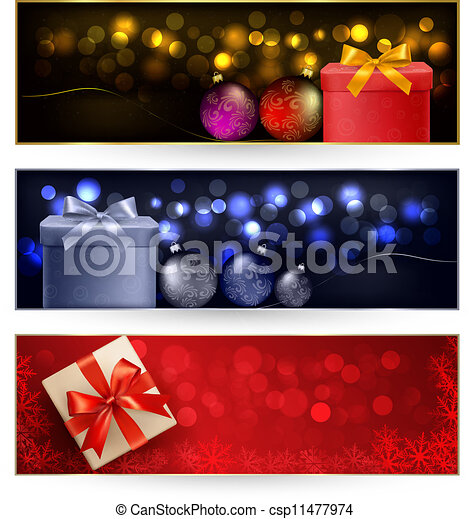 Set of winter christmas banners - csp11477974