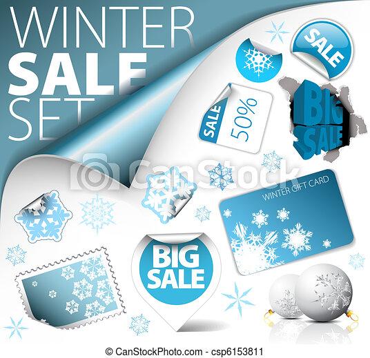 Set of winter discount elements - csp6153811