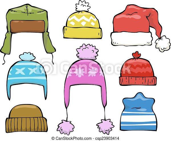 set of winter hats. set cartoon of winter hats vector vector clip