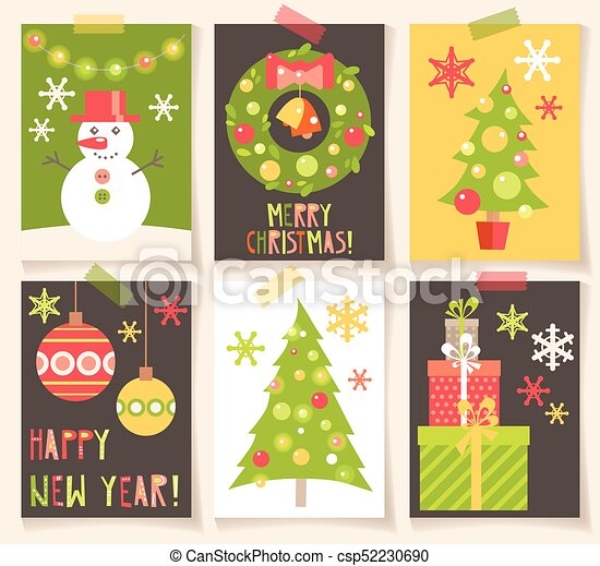 Set Of Winter Holiday Creative Cards With Flat Christmas Symbols