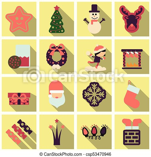 set of winter new year and christmas icons in flat style with shadow csp53470946
