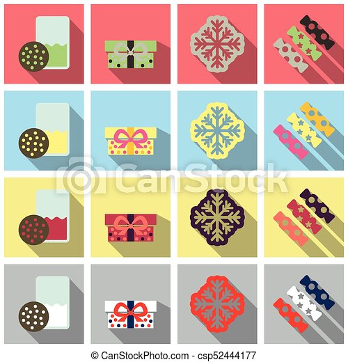 set of winter new year and christmas icons in flat style with shadow csp52444177