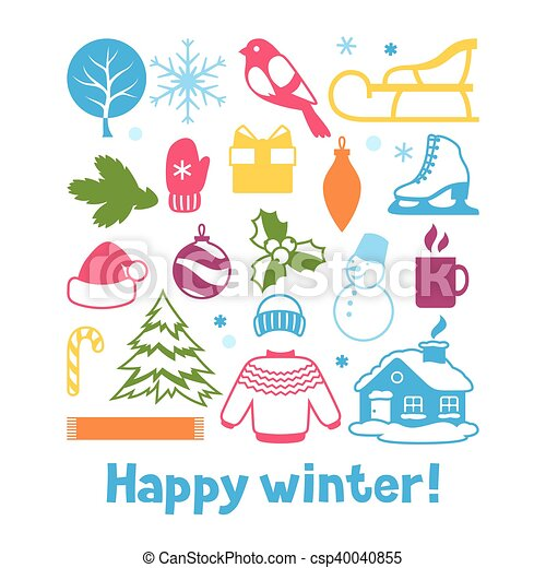 Set Of Winter Objects Merry Christmas Happy New Year Holiday Items