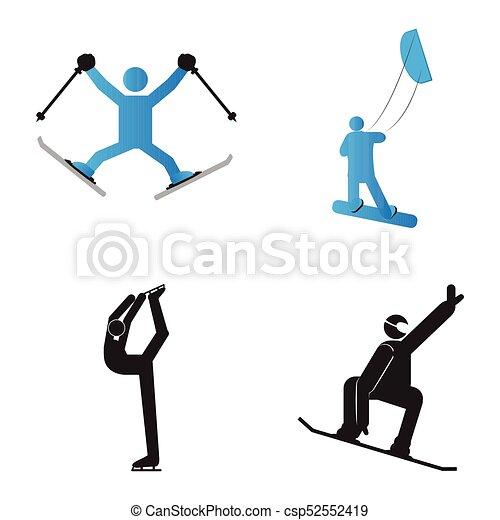 Set Of Winter Sport Symbols Vector Illustratio