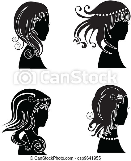 Set of woman with beauty hair  - csp9641955