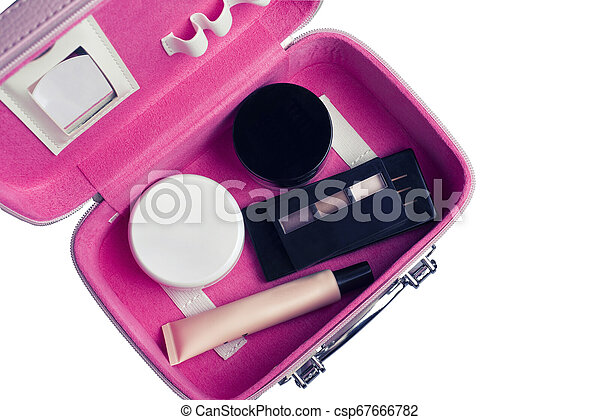 Set of woman's cosmetics in a bag. Women's secrets. Cosmetics, perfume, brushes, powder, highlighter, concealer, patelle with eye shadows. female cosmetics bag on white background. Make up. Copy space - csp67666782