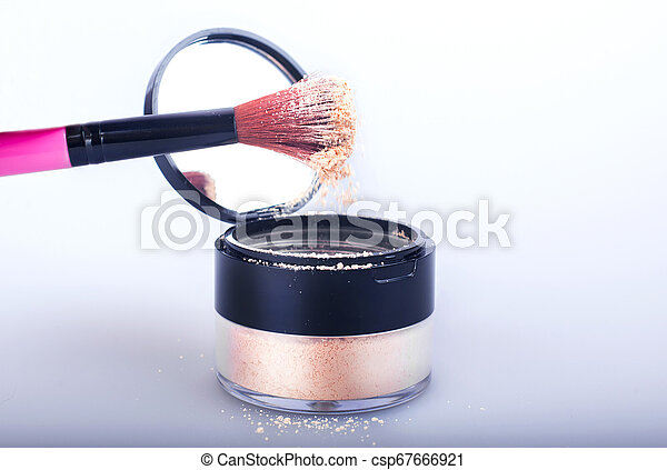Set of woman's cosmetics in a bag. Women's secrets. Cosmetics, perfume, brushes, powder, highlighter, concealer, patelle with eye shadows. female cosmetics bag on white background. Make up. Copy space - csp67666921