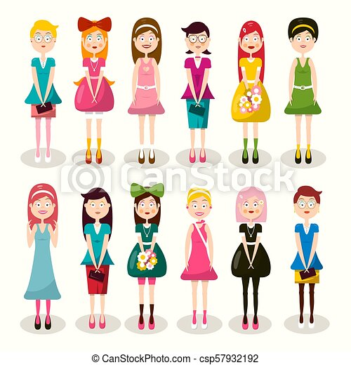 Set of Women Characters. Vector Flat Design Ladies Isolated on Light Background. Woman Icon. Girl Symbol. - csp57932192