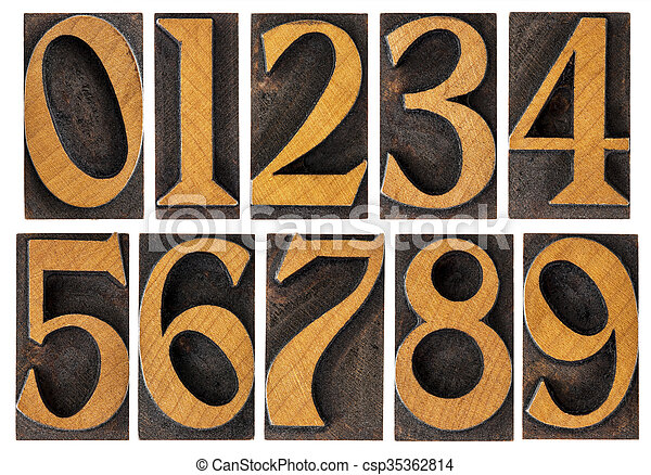 set of wood type numbers isolated - csp35362814