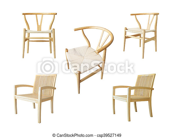 Set of wooden chair isolated on white background - csp39527149