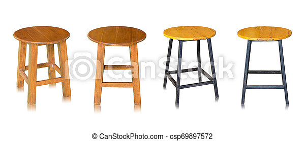 set of wooden chair or wooden stool isolated on white background - csp69897572