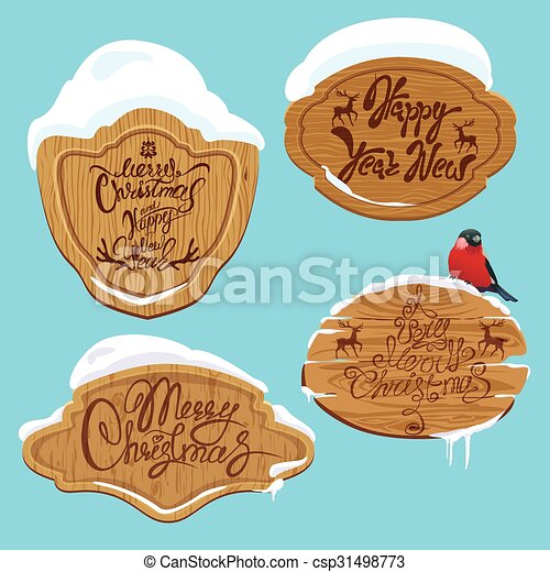 Set of Wooden frames with snow and handwritten calligraphic text Merry Christmas and Happy New Year, design elements for winter holidays. - csp31498773