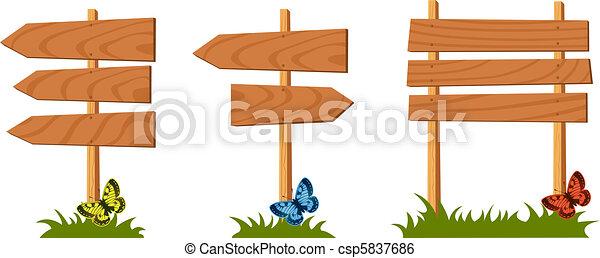 Set of wooden sign vector - csp5837686
