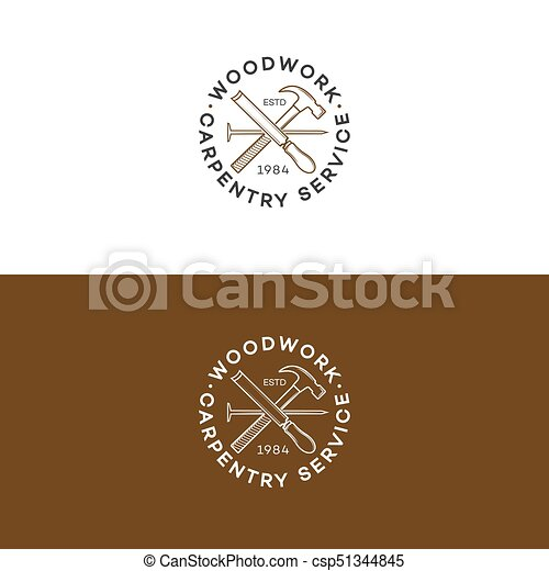 Set Of Woodwork Logo With Hammer And Nail Isolated On Background For Carpentry Service