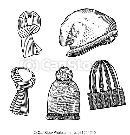 cbcea4ec Set of woolen winter clothes, hats and scarves. Set of woolen winter ...