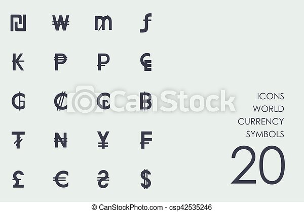 Set Of World Currency Symbols Icons World Currency Symbols Vector