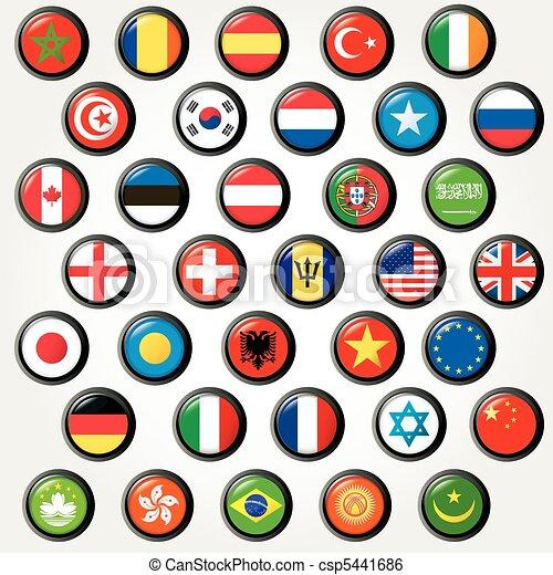 Set of world flags. Vector button  - csp5441686