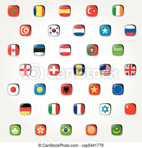 Set of world flags. Vector button  - csp5441779