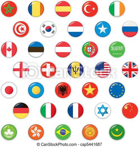 Set of world flags. Vector button  - csp5441687