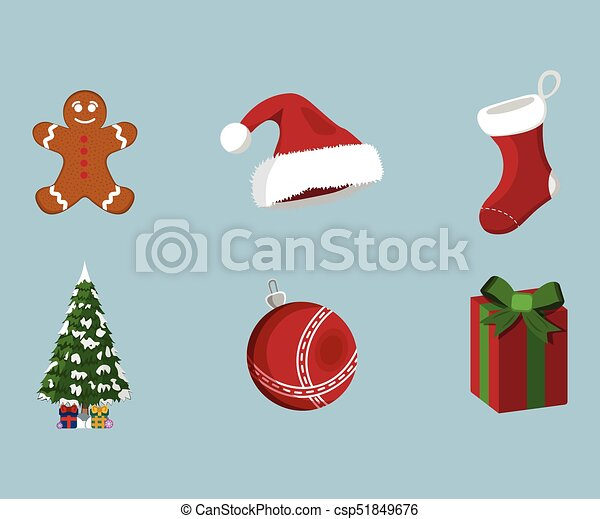 Set of XMas icon. Cartoon style. Vector Illustration for Christmas day - csp51849676