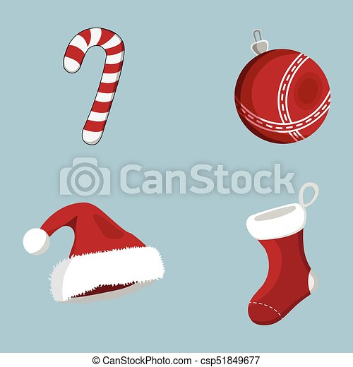 Set of XMas icon. Cartoon style. Vector Illustration for Christmas day - csp51849677