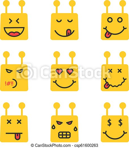 Set Of Yellow Chatbot Emoji Icon