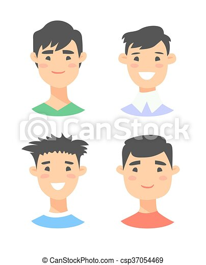 Set of young asian male characters - csp37054469