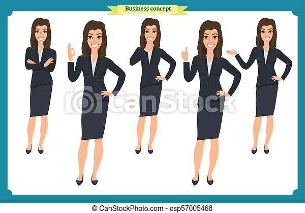 Set of young businesswoman presenting in different poses.People character. Standing, Woman body template for design, presentations work.Isolated on white. Flat style.business - csp57005468