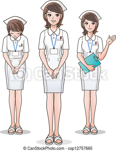 Set of young cute nurse welcoming - csp12757665