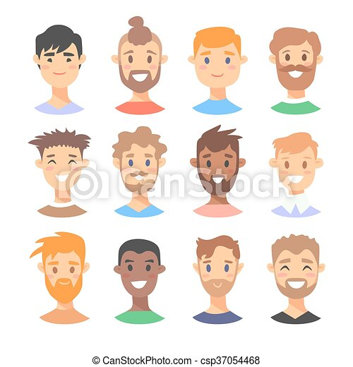 Set of young male characters - csp37054468