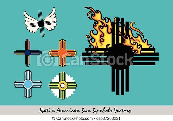 Set Of Zia Symbols Vector Illustration