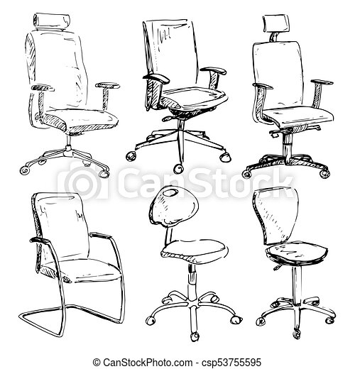 Pleasing Set Office Chairs Isolated On White Background Sketch Different Chairs Vector Illustration Pdpeps Interior Chair Design Pdpepsorg