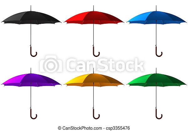 set, ombrello, classico, colorare, bastone, aperto - csp3355476