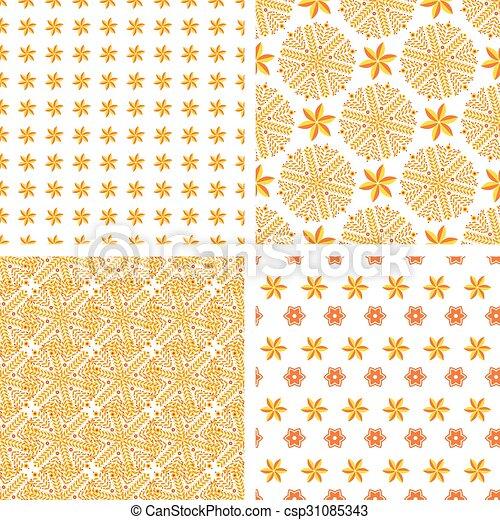Set Orange Abstract Seamless Pattern