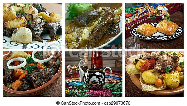 Food set oriental uzbek cuisine.collage. Cuisine Oriental on
