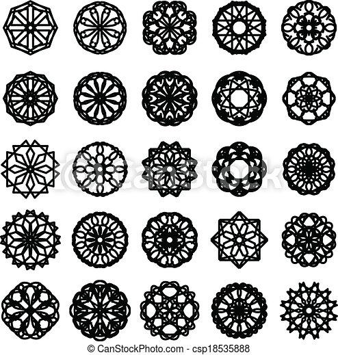 set, ornament, ronde - csp18535888
