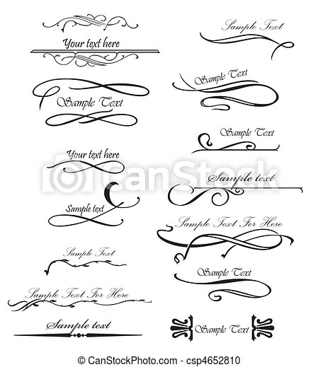 Set ornate design elements for you text. Vector - csp4652810