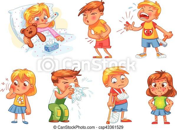 set, ottenere, isolato, sick., fondo., bianco, bambini - csp43361529