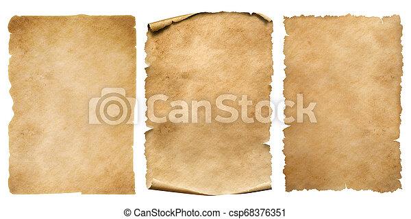 set, ouderwetse , vrijstaand, of, papier, bladen, witte , perkament - csp68376351